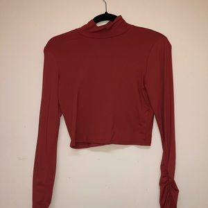 Long sleeve crop top turtle neck